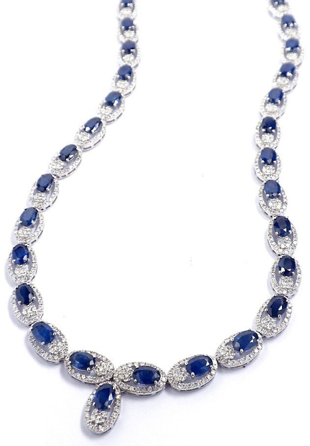 14KT White Gold 20.66ct Sapphire and Diamond Necklace F