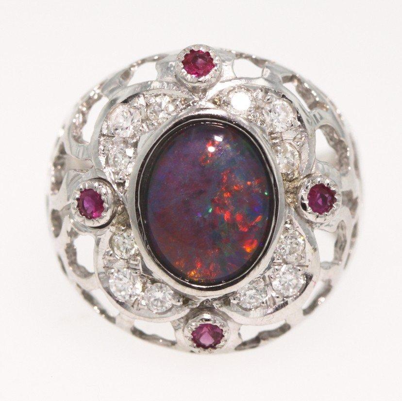 14KT White Gold Diamond, Opal, Ruby Ring 5.2gms GD217
