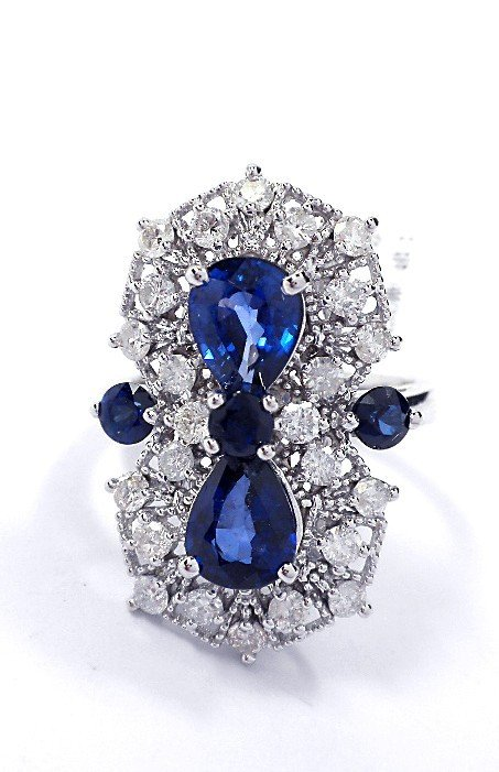 14KT White Gold Sapphire and Diamond Ring A3610
