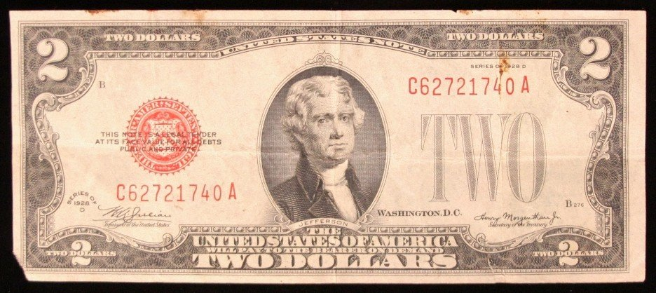 1928-D $2 Red Seal Bank Note PM2098
