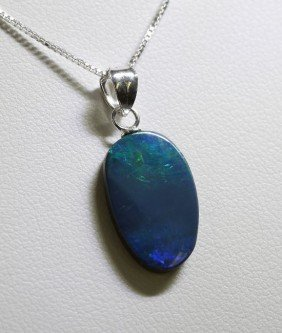 Sterling Silver Opal Doublet Necklace RTJ422