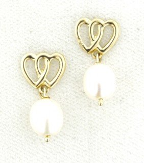 14KT Yellow Gold Pearl Dangle Earrings GD323