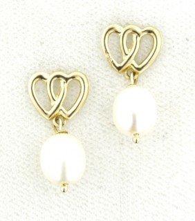 14KT Yellow Gold Pearl Dangle Earrings GD323