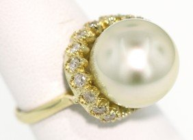 14KT Yellow Gold 0.74ct Diamond and Pearl Ring ATP6