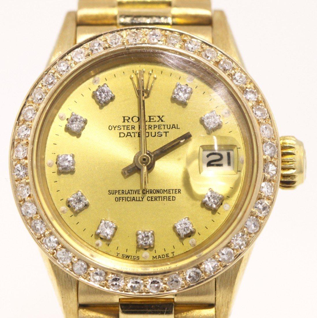 Ladies 18KT Gold Rolex Diamond DateJust Wristwatch A356