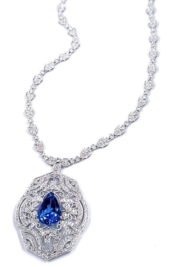 18KT White Gold 8.28ct Tanzanite and Diamond Necklace F