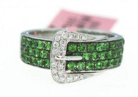 14KT White Gold Tsavorite and Diamond Buckle Ring FJM74