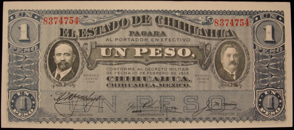 1915 Crisp Uncirculated Mexico 1 Peso Bank Note PM1931