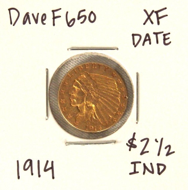 1914 $2-1/2 XF Date Indian Head Quarter Eagle Gold Coin