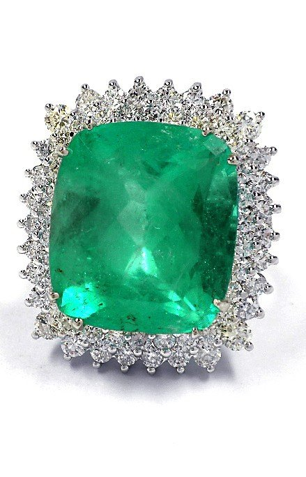 14KT White Gold 19.26ct Emerald and Diamond Ring A3664