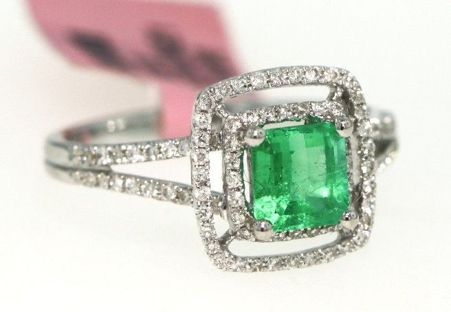 18KT White Gold .88ct Emerald and Diamond Ring FJM950