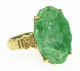 Antique Carved Jade Ring 14KT Gold Setting Ed1254