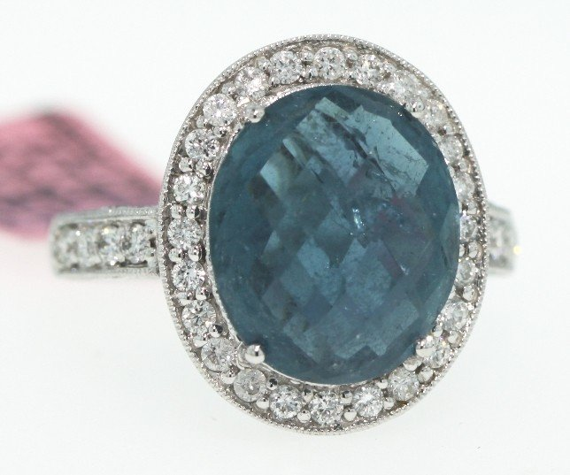 14KT White Gold 6.12ct Tourmaline and Diamond Ring FJM7
