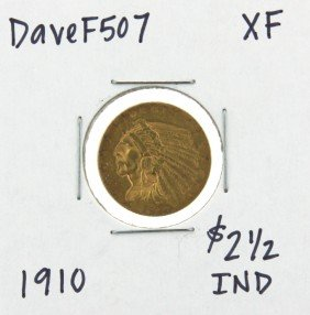 1910 $2-1/2 XF Indian Head Quarter Eagle Gold Coin Dave