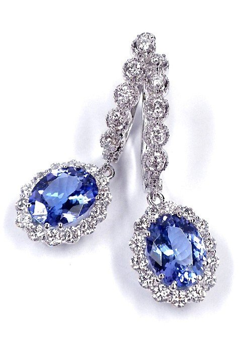 14KT White Gold 3.81ct Tanzanite and Diamond Earrings A