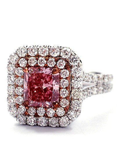 18KT White Gold 2.9ct Pink Diamond Ring!! A3565