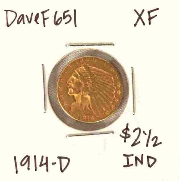 1914-D $2-1/2 XF Indian Head Quarter Eagle Gold Coin Da