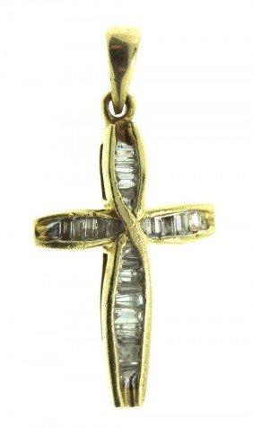 10KT Yellow Gold Diamond Cross Pendant .50ct GD138