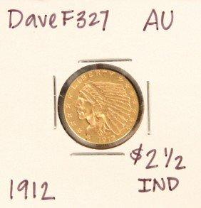 1912 $2-1/2 AU Indian Head Quarter Eagle Gold Coin Dave