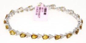 14KT White Gold 7.05ct Citrine And Diamond Bracelet FJM