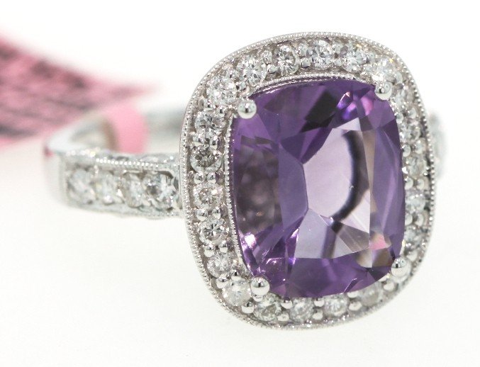 14KT White Gold 3ct Amethyst and Diamond Ring FJM863