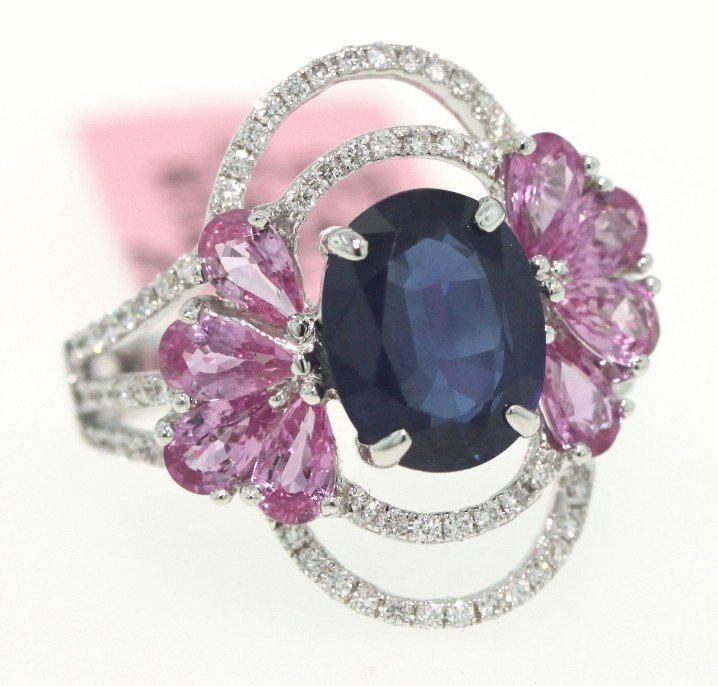 18KT White Gold Pink and Blue Sapphire and Diamond Ring
