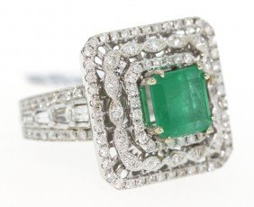 14KT White Gold 2.33ct Emerald And Diamond Ring RM318