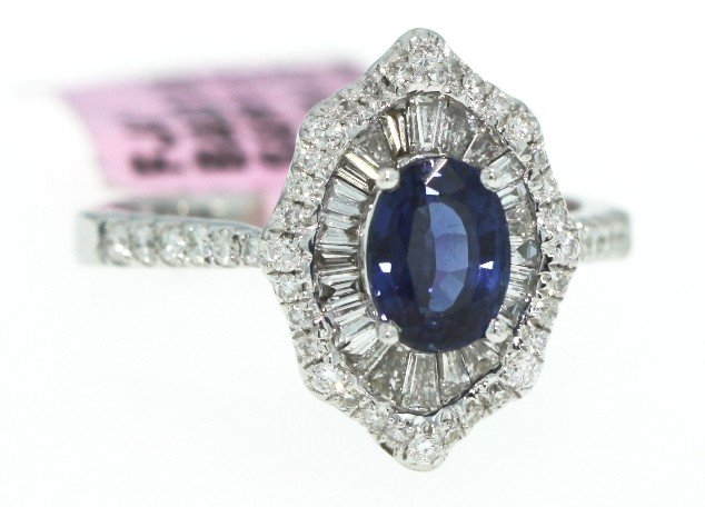 18KT White Gold 1.12ct Sapphire and Diamond Ring FJM748