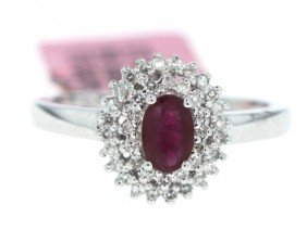 14KT White Gold .68ct Ruby And .23ct Diamond Ring FJM52