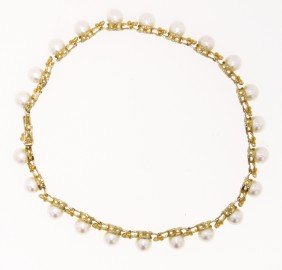 14KT Yellow Gold Pearl Bracelet GD340