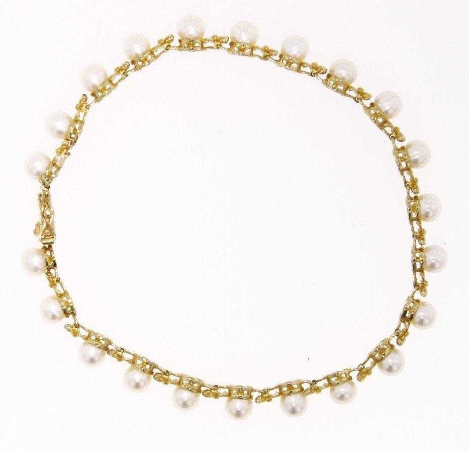 14KT Yellow Gold Pearl Bracelet GD340