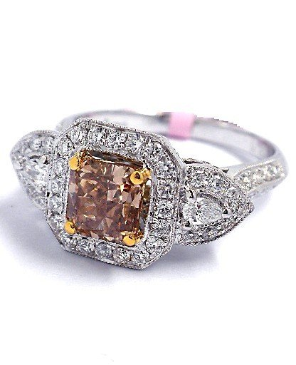 18KT Two-Tone Gold 2.01ct Cognac and White Diamond Ring