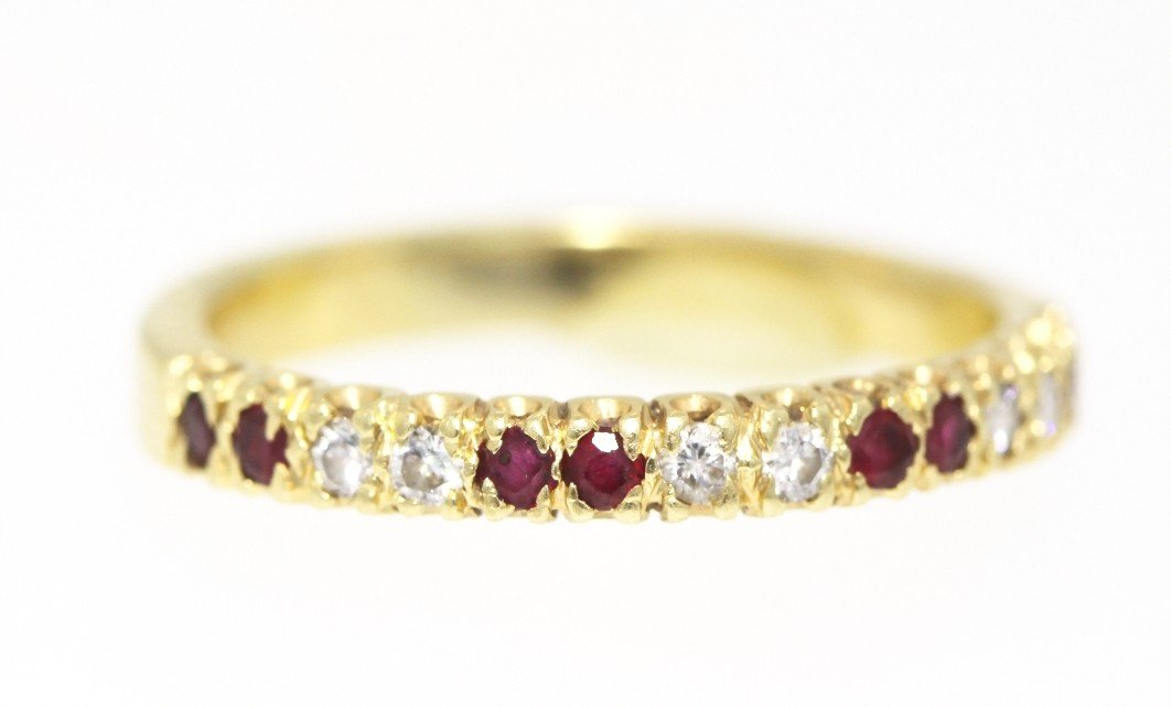 14KT Yellow Gold Ruby and Diamond Band Ring GD318
