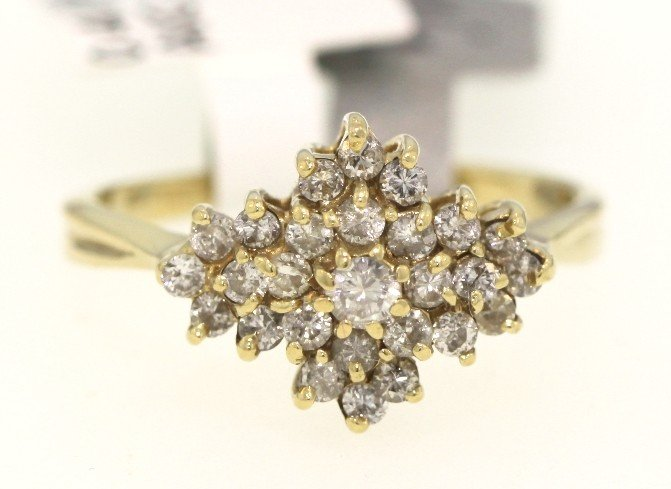 14KT Yellow Gold .4ct Diamond Cluster Ring RM329