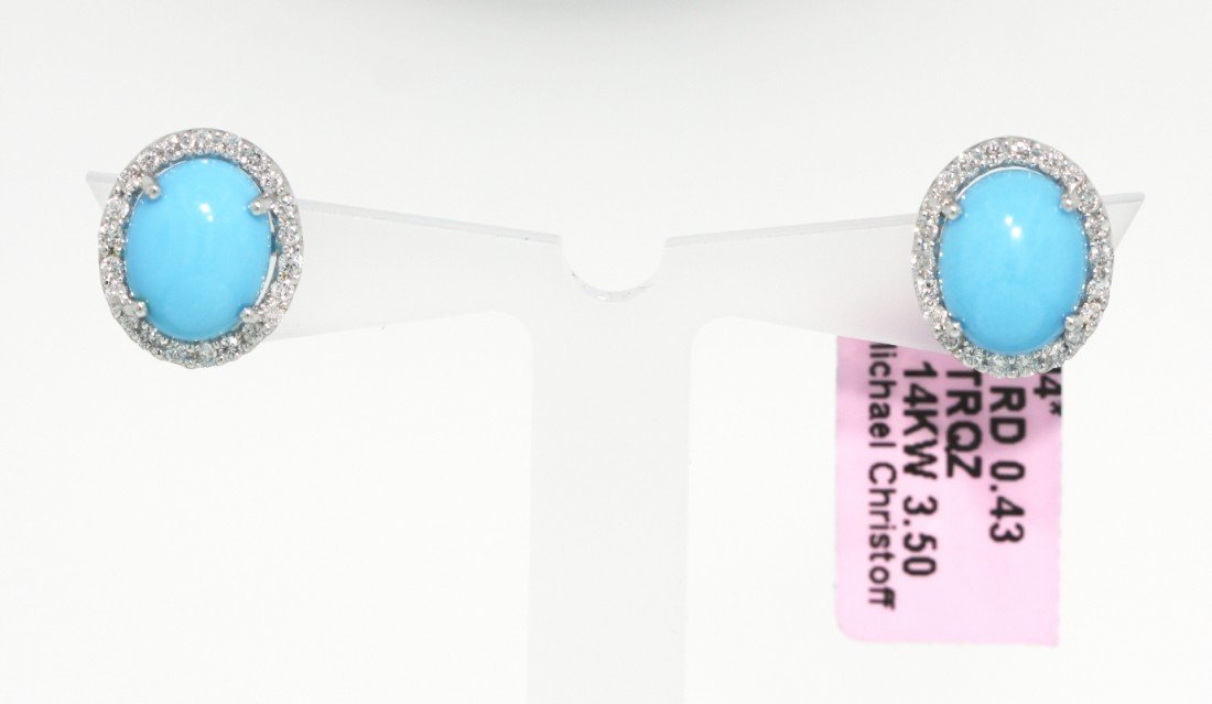 14KT White Gold Turquoise and Diamond Stud Earrings FJM