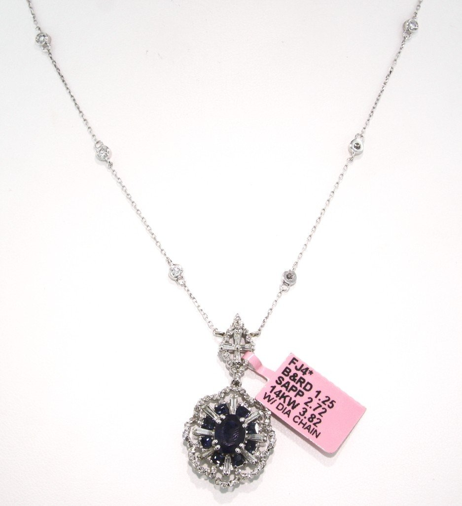 14KT White Gold 2.72ct Sapphire and Diamond Necklace FJ