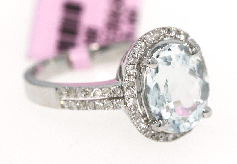 14KT White Gold 2.4ct Aquamarine and Diamond Ring FJM11