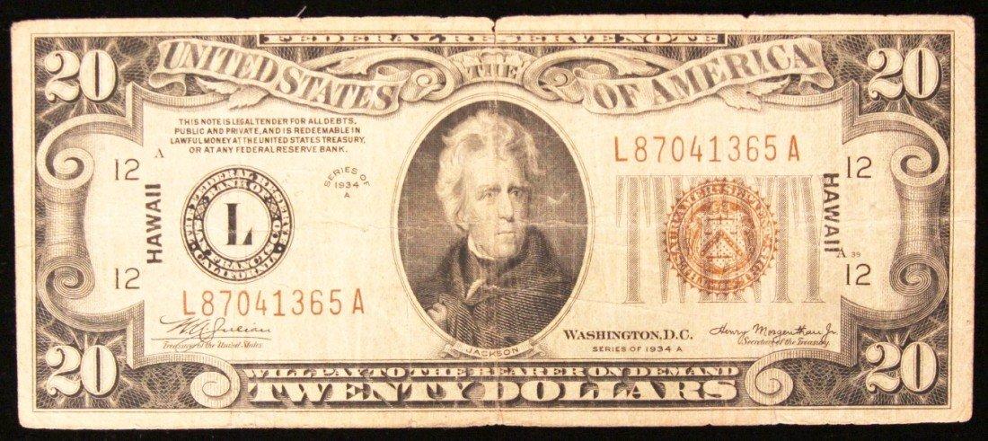 1934 $20 Federal Reserve Bank Note- Hawaii Emergency BD