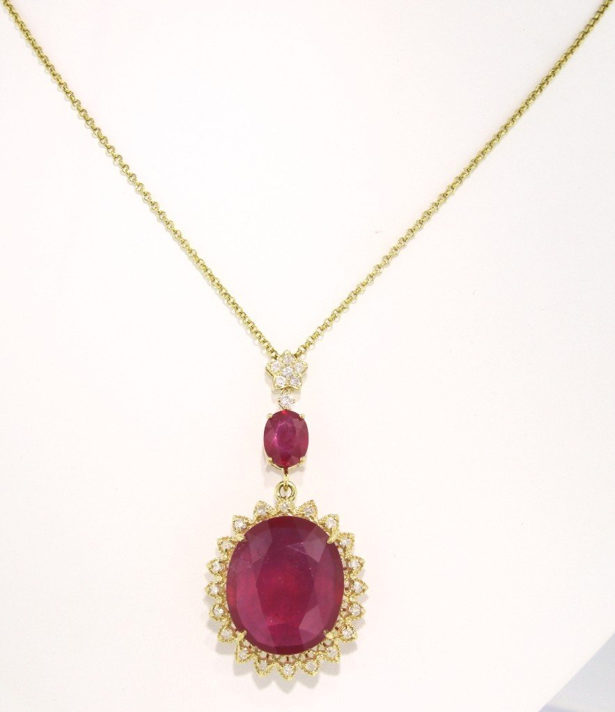 14KT Yellow Gold 37.43ct Ruby and Diamond Pendant and C