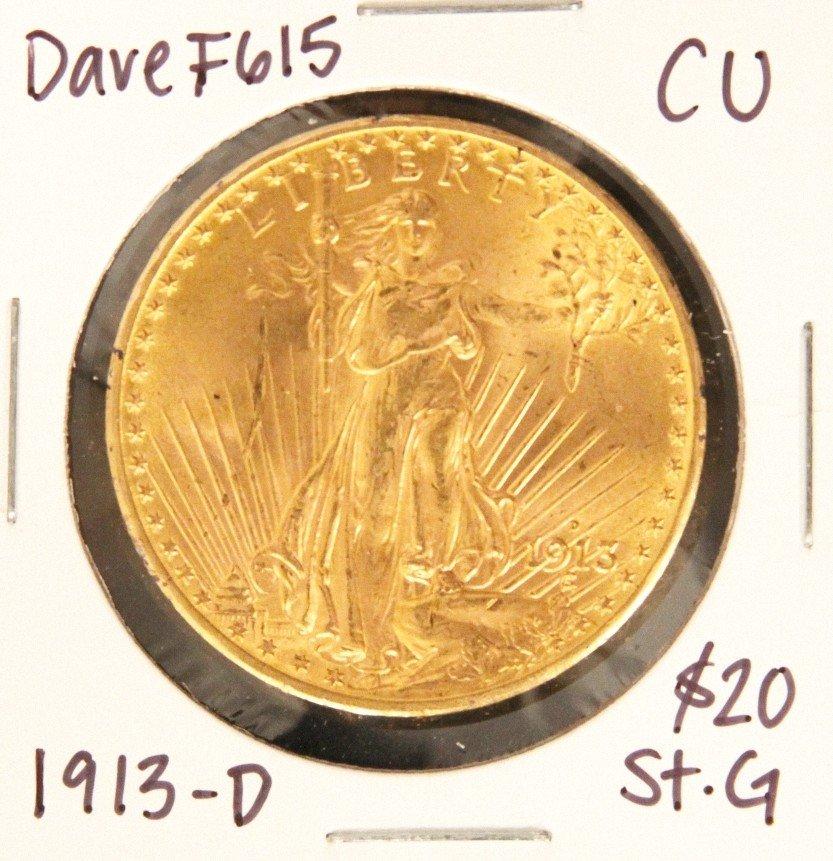 1913-D $20 CU St. Gaudens Double Eagle Gold Coin DaveF6