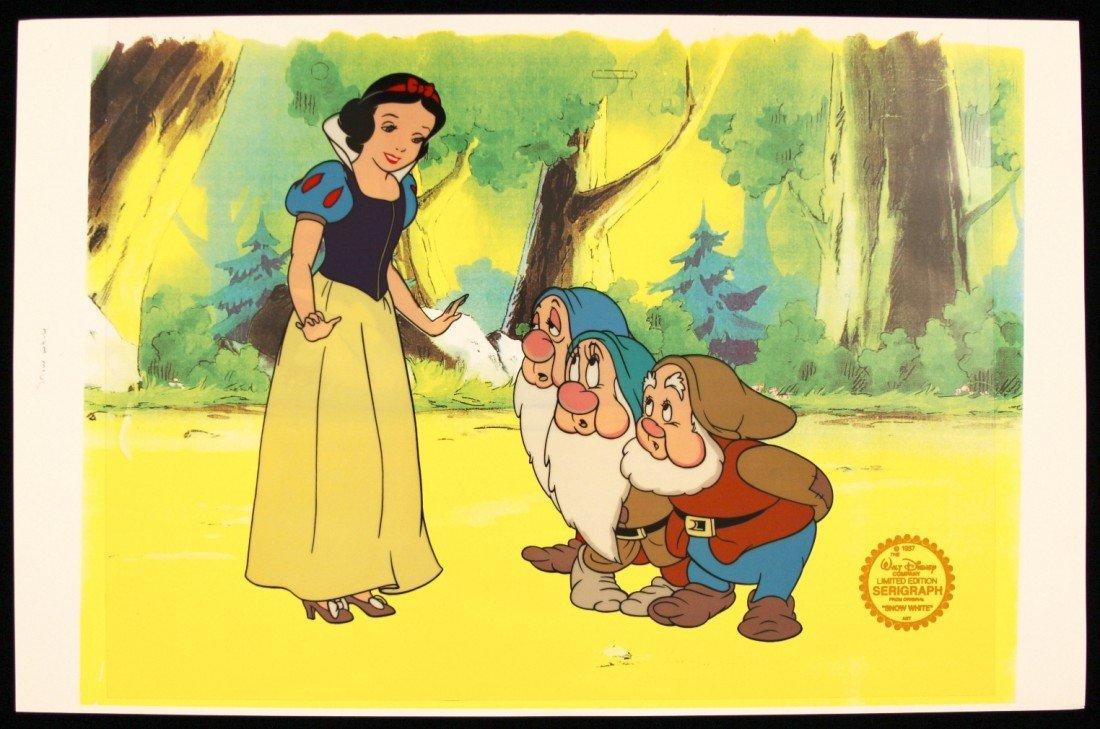 "Walt Disney ""Snow White with 3 Dwarfs"" Serigraph Cel Di"