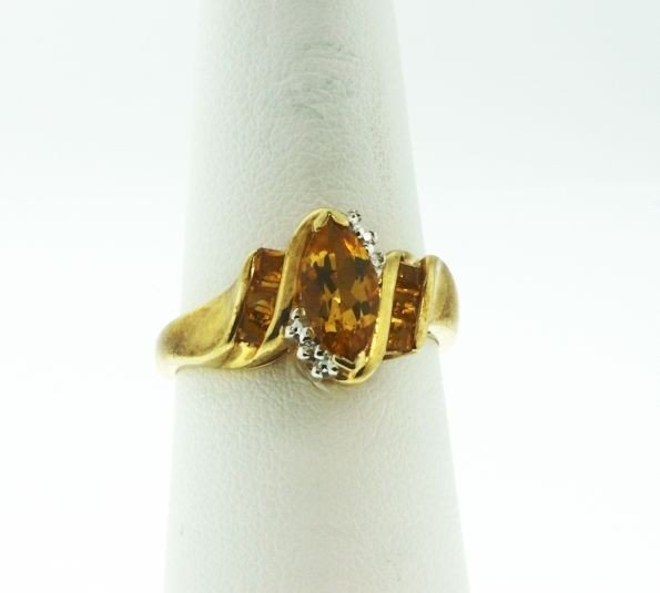 10KT Yellow Gold Citrine & Diamond Ring GD64
