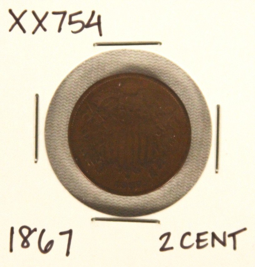1867 Two Cent Piece XX754