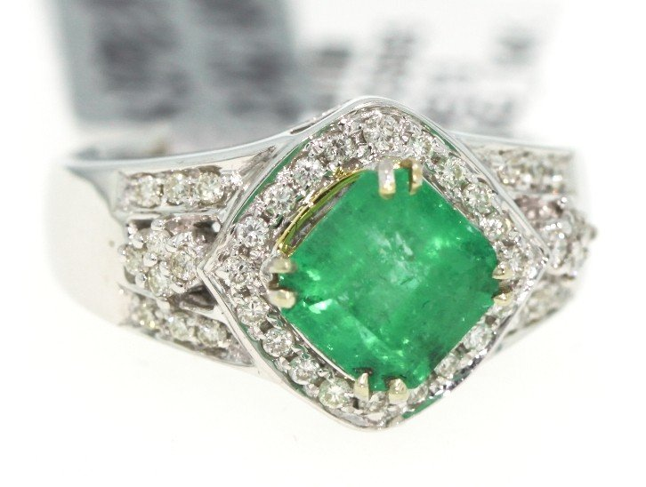 14KT White Gold 1.96ct Emerald and Diamond Ring RM296