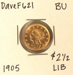 1905 $2-1/2 BU Liberty Head Quarter Eagle Gold Coin Dav