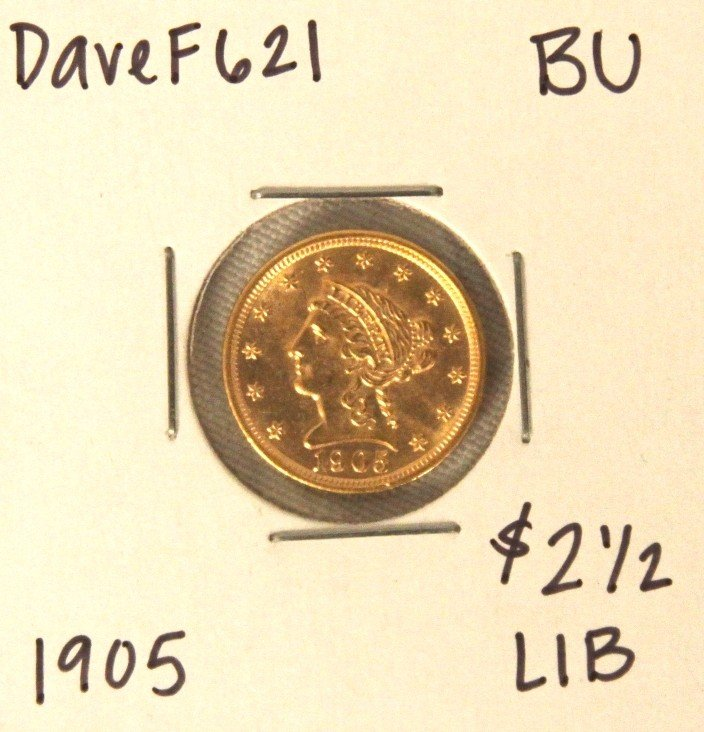 1905 $2-1/2 BU Liberty Head Quarter Eagle Gold Coin Dav