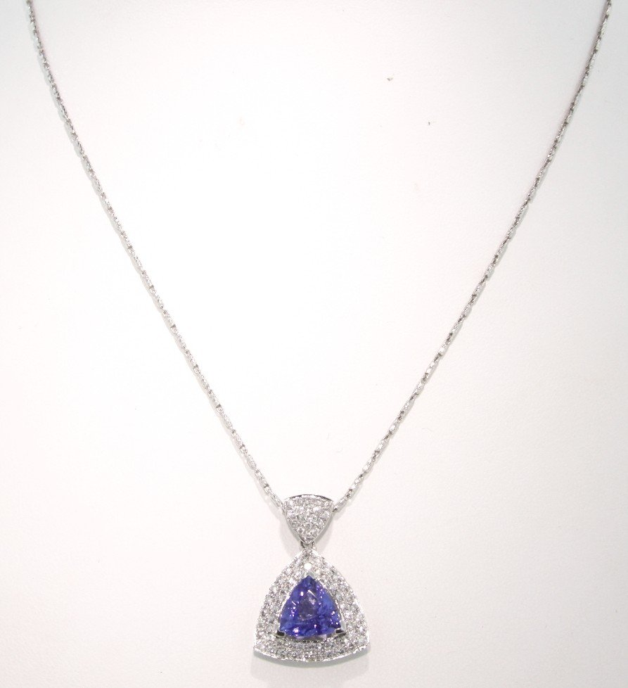 14KT White Gold 2.88ct Tanzanite and Diamond Pendant an