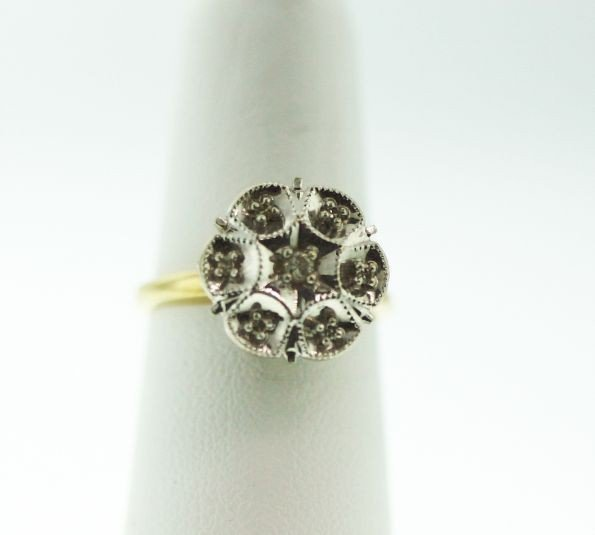 "10KT Yellow Gold ""Flowered"" Diamond Ring GD76"