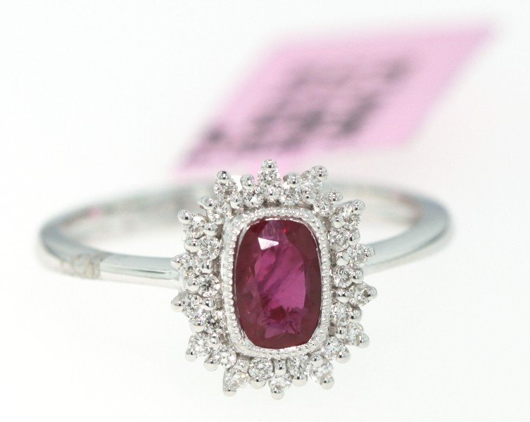 14KT White Gold .72ct Ruby and Diamond Ring FJM440