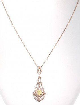 18KT Rose Gold Yellow And White Diamond Pendant And Cha